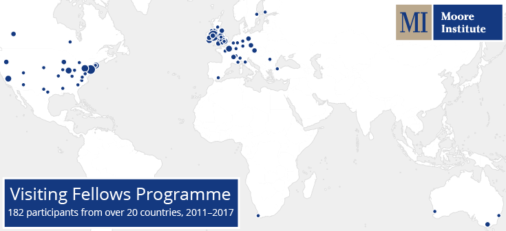 Moore Institute visiting fellows map, 2011 - 2017